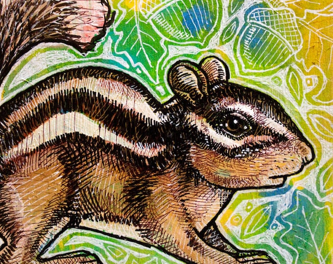 Original Chipmunk Miniature Art by Lynnette Shelley