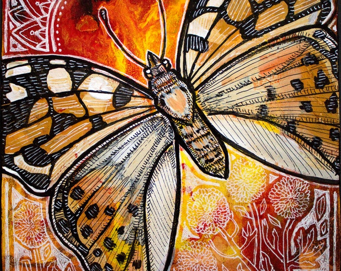 Original Painted Lady Butterfly Painting by Lynnette Shelley