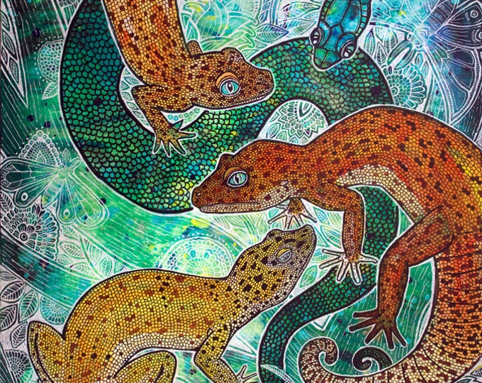 Gecko and Snake Animal Art Print by Lynnette Shelley