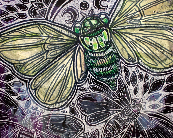 Original Cicada Insect Painting by Lynnette Shelley