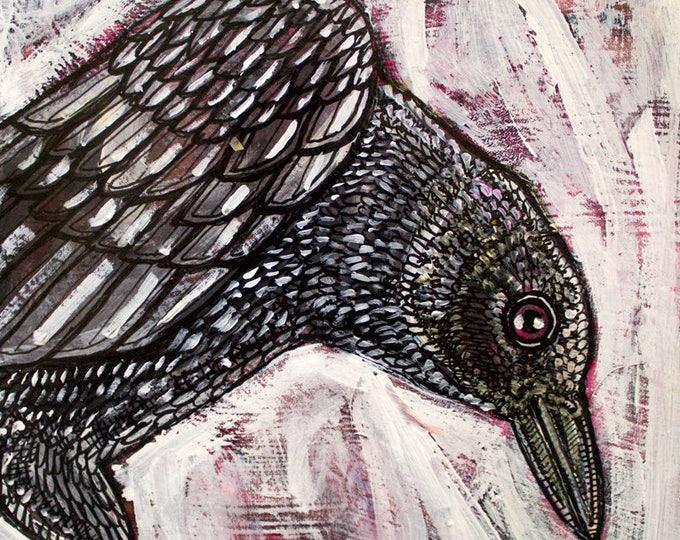 Original Crow / Raven / Corvid / Bird Painting by Lynnette Shelley