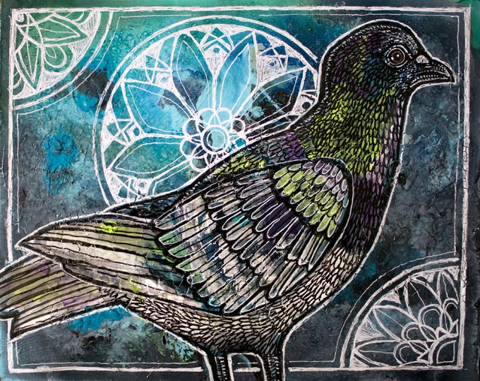 Original Pigeon Bird Painting by Lynnette Shelley