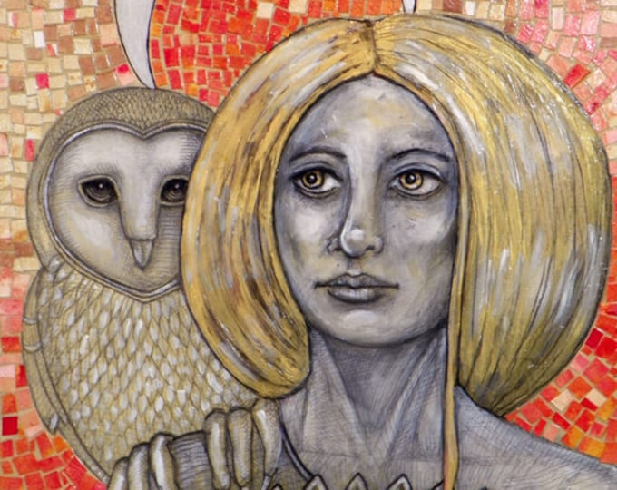 Athene / Athena / Minerva Greek owl Goddess Archival Art Print by Lynnette Shelley