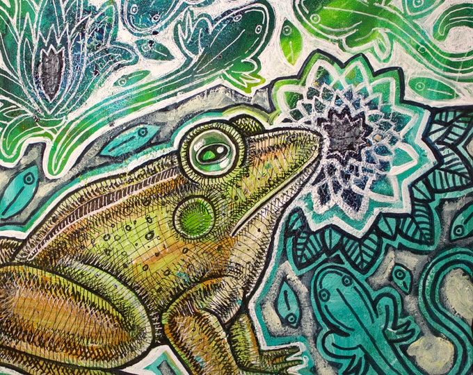 Original Green Frog and Tadpoles Painting by Lynnette Shelley
