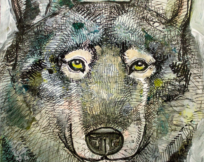 Original Lone Wolf Miniature Painting by Lynnette Shelley