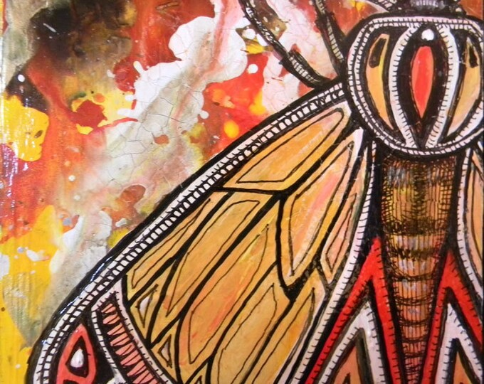 Original Moth Insect Miniature Painting by Lynnette Shelley