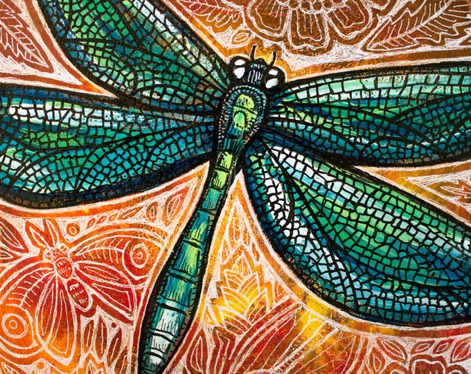 Original Dragonfly Insect Painting by Lynnette Shelley