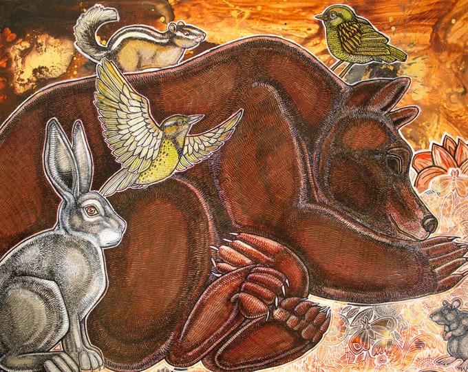 Dreaming Bear Woodland Animal Art Print by Lynnette Shelley