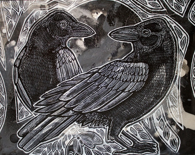 "Original ""The Night Ravens"" painting by Lynnette Shelley"