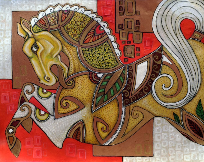 Original Carousel Horse Mixed Media Artwork by Lynnette Shelley