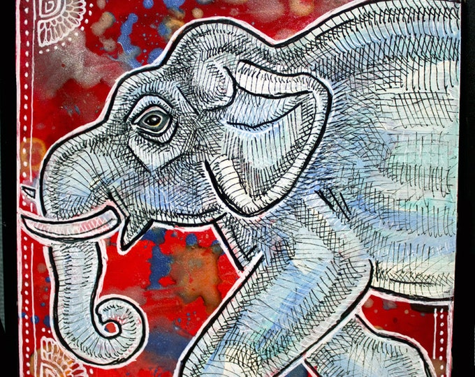 Original Miniature Elephant Painting by Lynnette Shelley