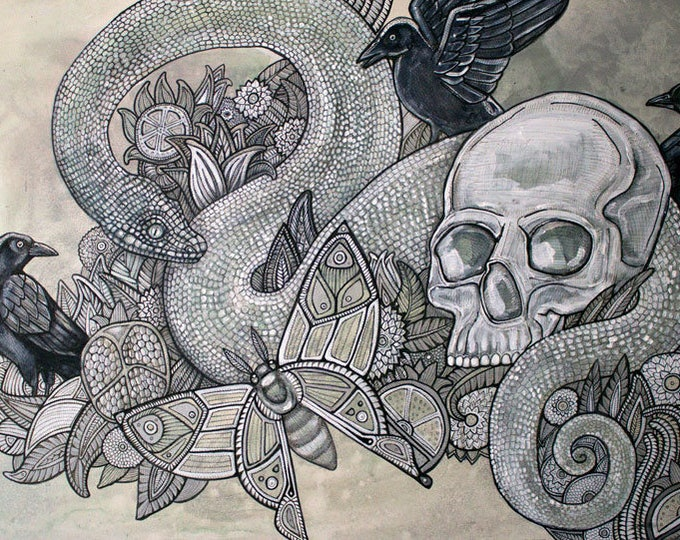 "Original ""Memento Mori"" Skull Gothic painting by Lynnette Shelley"