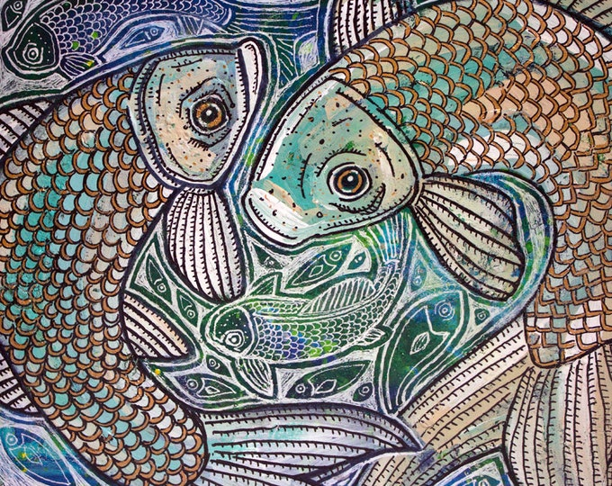 Original Blue Fish Swirl Painting by Lynnette Shelley