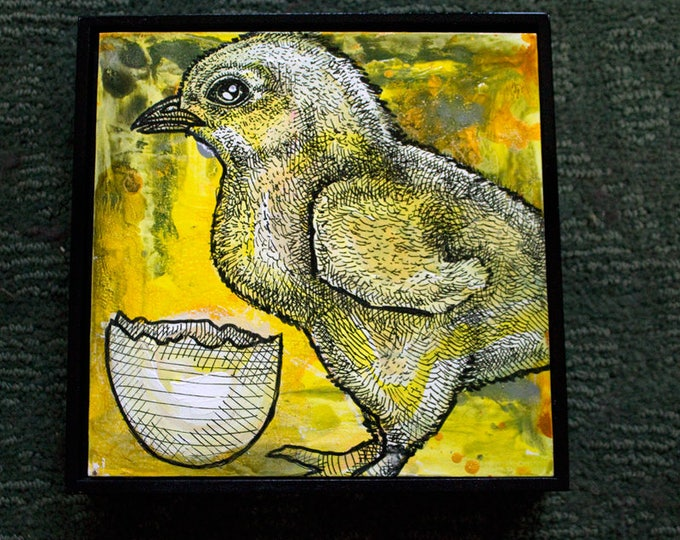 Original Chicken and Egg Miniature Art by Lynnette Shelley