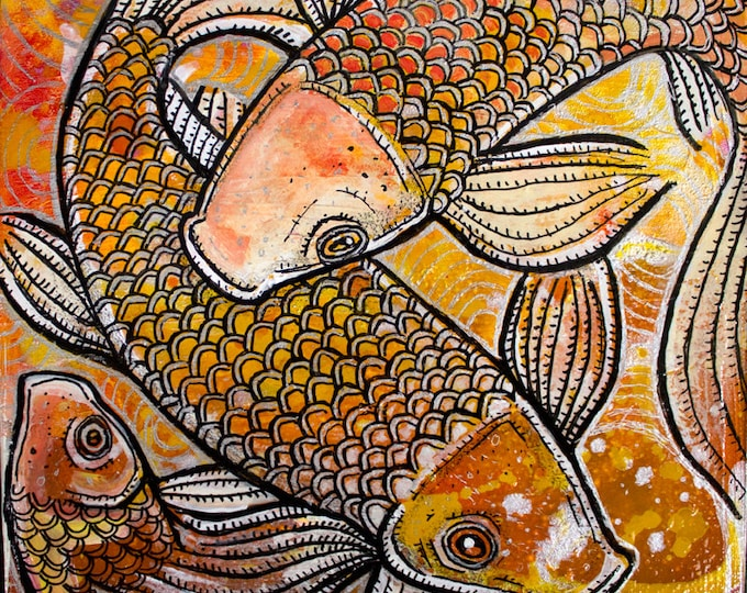 Koi Fish Miniature Painting by Lynnette Shelley