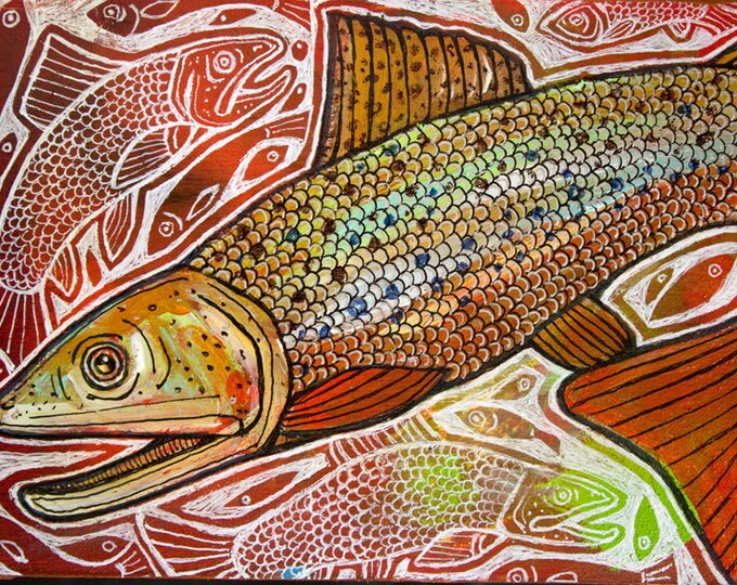 Trout Fish Miniature Painting by Lynnette Shelley