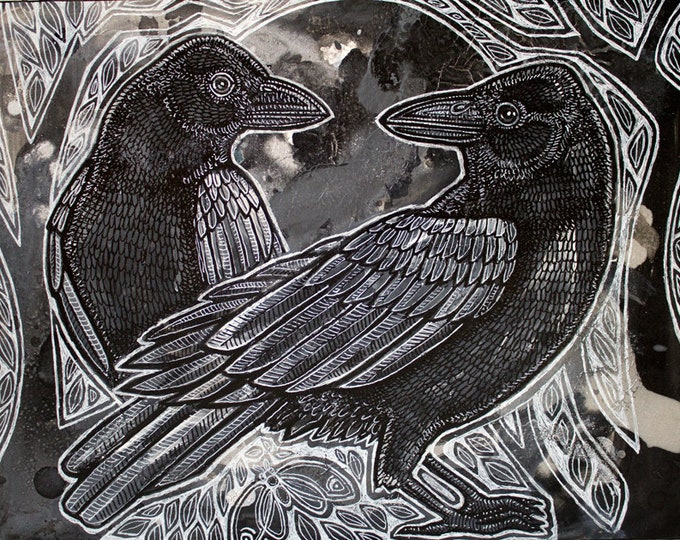 The Night Ravens Art Print by Lynnette Shelley
