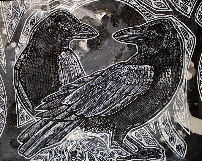 The Night Ravens Art Print by Lynnette Shelley