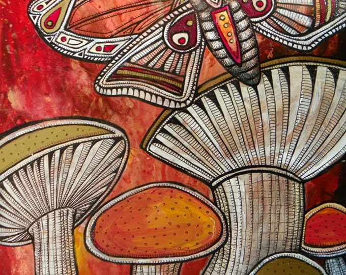 """Original """"Moth and Mushrooms"""" Painting by Lynnette Shelley"""