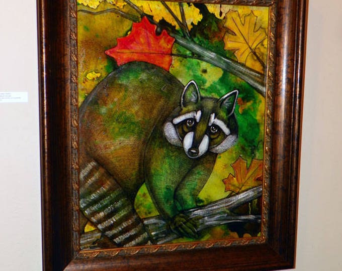 SALE PRICE! Autumn Raccoon Original Framed Painting by Lynnette Shelley