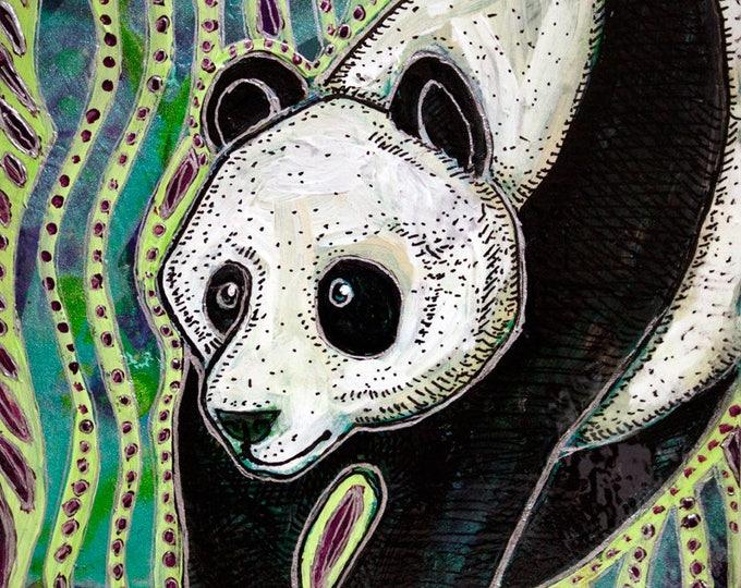 Original Panda Miniature Painting by Lynnette Shelley