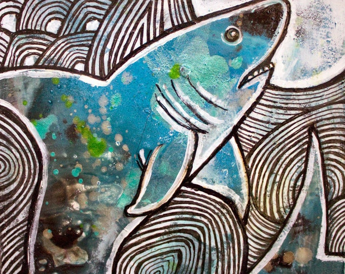 Original Leaping Shark Painting by Lynnette Shelley