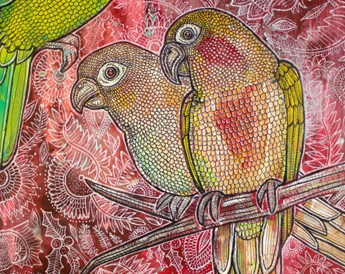 "Original ""Paradiso"" Conure / Parrot Painting by Lynnette Shelley"