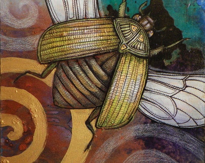 Original Flying Scarab Beetle Painting by Lynnette Shelley