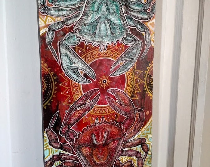 "Original ""Dancing Crabs"" Mystical Marine Art Painting by Lynnette Shelley"
