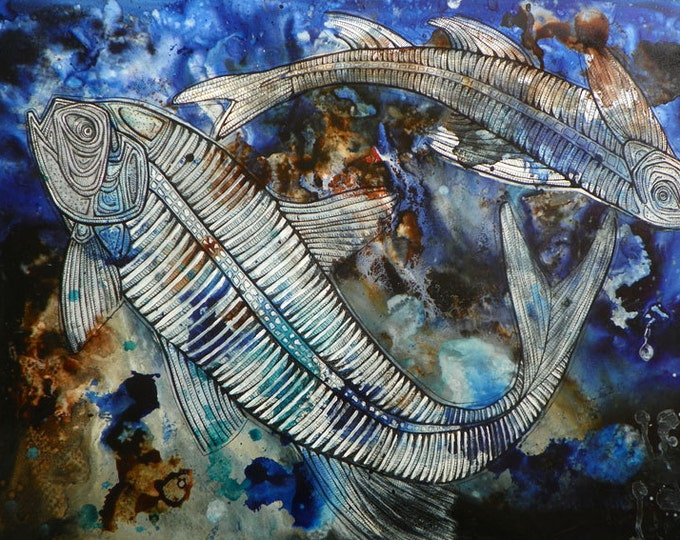 Original Painting of Fossilized Fish by Lynnette Shelley