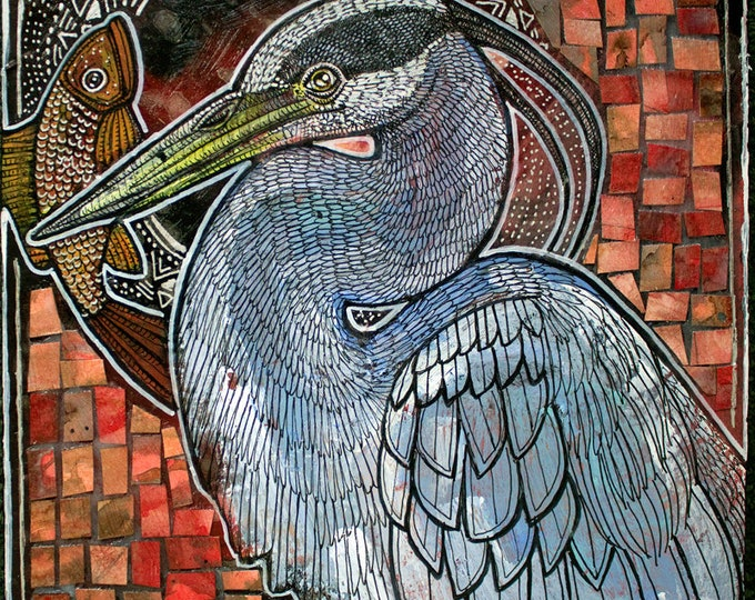 Original Great Blue Heron with Fish Painting by Lynnette Shelley