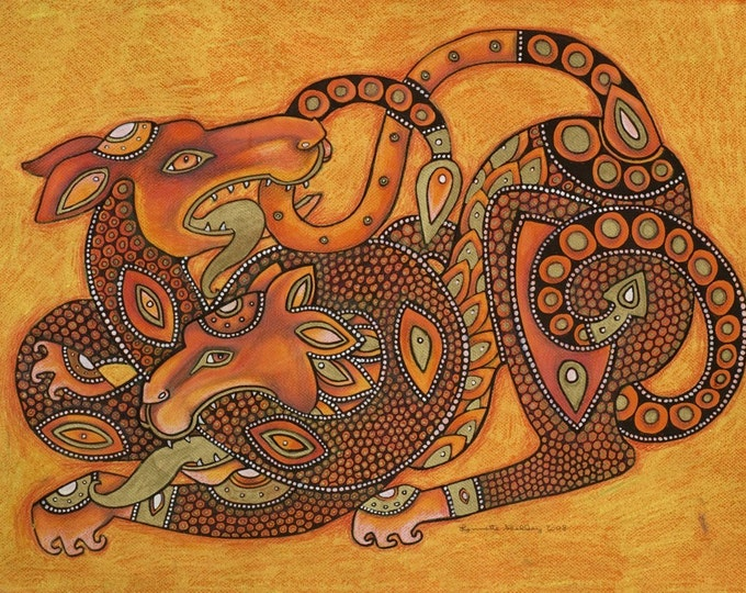 Dragon and Lion Medieval / Celtic / Fantasy Art by Lynnette Shelley