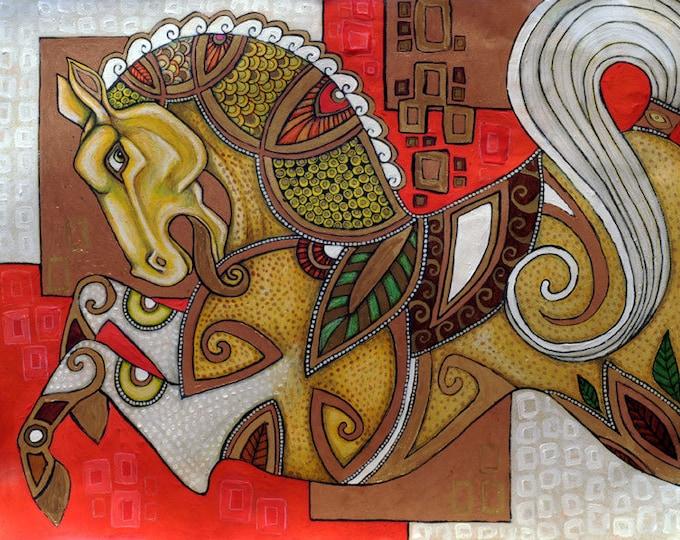 Original Carousel Horse Mixed Media Artwork by Lynnette Shelley