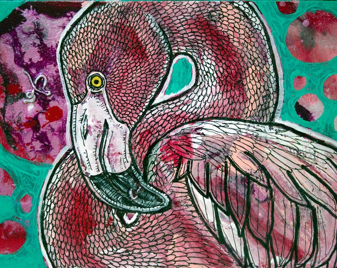 Flamingo Bird Miniature Painting by Lynnette Shelley