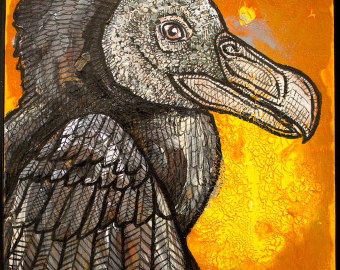 Original Black Vulture Miniature Art by Lynnette Shelley