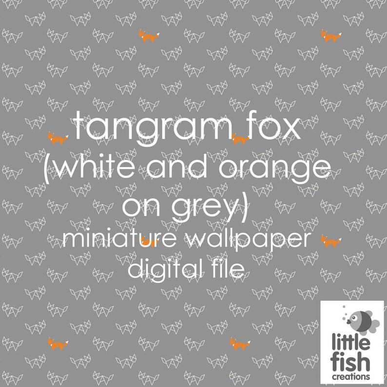 Digital Download Tangram Foxes White And Orange On Grey Miniature Dollhouse Wallpaper