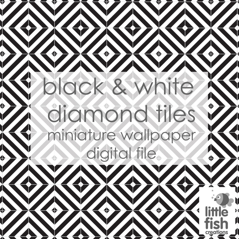 noir et blanc diamant carreaux papier peint de maison de etsy. Black Bedroom Furniture Sets. Home Design Ideas