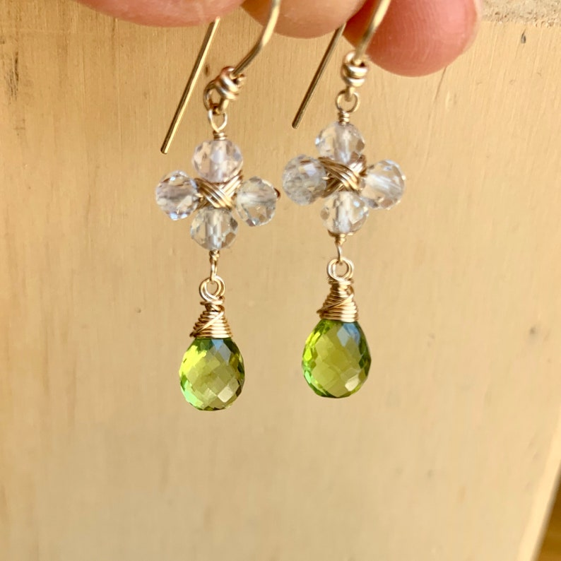 White topaz and peridot floral inspired earrings on gold fill wire