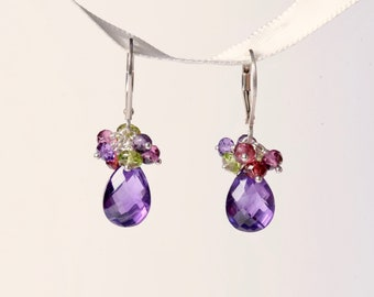 Amethyst cluster earrings with garnet and peridot on sterling silver