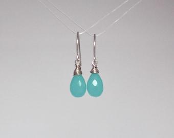 Aqua chalcedony wire wrapped drop earrings in sterling silver