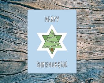 Merry Chrismukkah - A2 folded note card & envelope - SKU 497