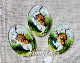 6 pcs - Alice in Wonderland White Rabbit glass cabochons - 18mm x 25mm