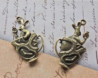 6 pcs - Rabbit in teacup charms - Antique bronze tone