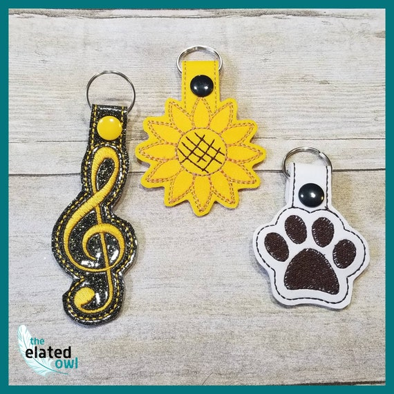 Keychain, novelty keychain, sunflower, paw print, alien, unique gift, teacher gift, fathers day gift, vinyl keychain, embroidered keychain