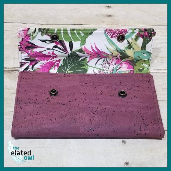 Wallet, Cork Wallet, Purple Wallet, Billfold, Plum wallet, Pretty wallet, Handmade Wallet, Fabric Wallet, Fabric Billfold, Elegant Wallet
