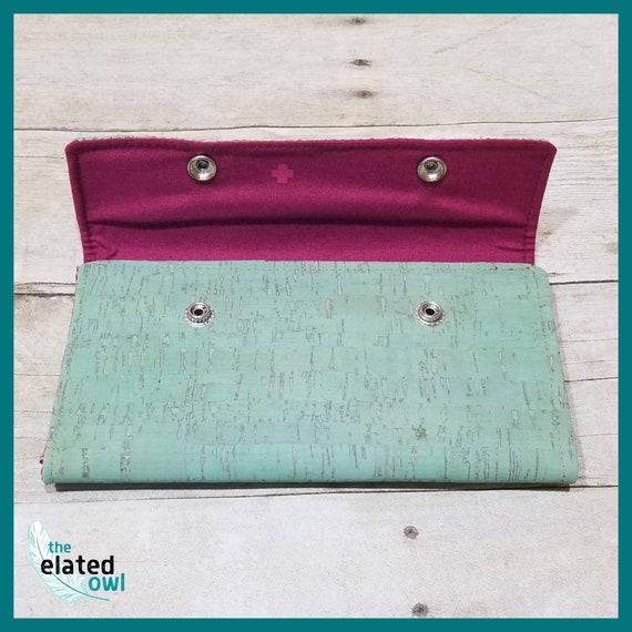 Wallet, Cork Wallet, Mint Wallet, Billfold, Retro wallet, Pretty wallet, Handmade Wallet, Fabric Wallet, Fabric Billfold, Elegant Wallet