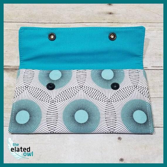 Wallet, Cotton Wallet, Teal Wallet, Billfold, modern wallet, Pretty wallet, Handmade Wallet, Fabric Wallet, Fabric Billfold, Elegant Wallet