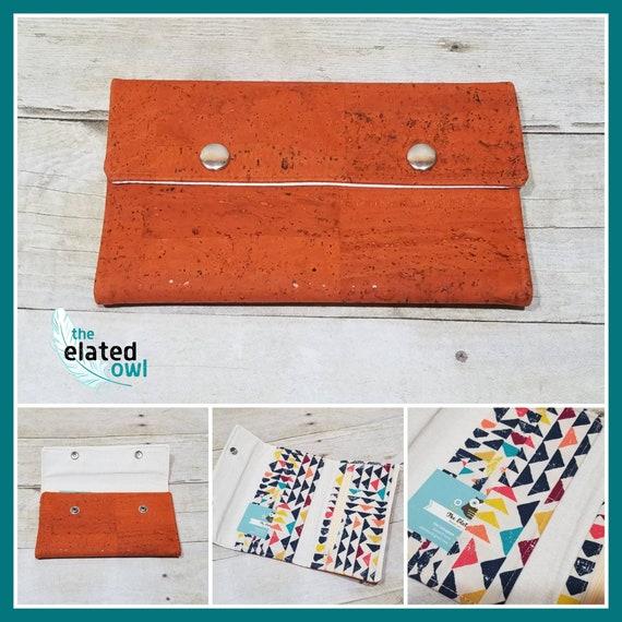 Wallet, Cork Wallet, Orange Wallet, Billfold, Retro wallet, Pretty wallet, Handmade Wallet, Fabric Wallet, Fabric Billfold, Elegant Wallet