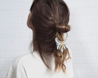 Lace hair accessory - DAZE - White lace, brass hoop and brass findings
