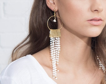 lace earrings - Monsoon - ivory lace with brass and micro tassel